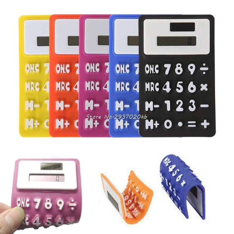 Складной мягкий силиконовый ручной научно солнечный калькулятор для школы и офиса HULL4