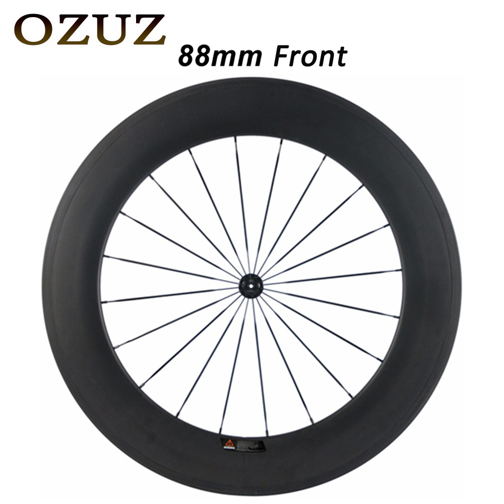 23mm width ceramic bearing v brake 24mm 38mm 50mm 88mm only front wheel clincher tubular road bike carbon wheel 700c bicycle 700c full carbon road bike wheel 50mm deep novatec powerway hub in 20 holes front bicycle wheel only 3k matte finish