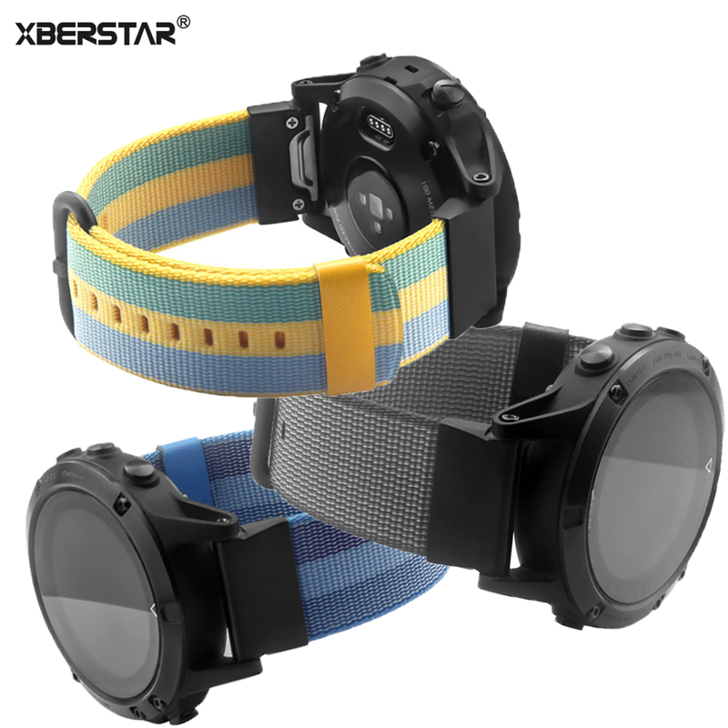XBERSTAR Quick Release Nylon Woven Wrist band Watch Strap for Garmin Fenix 5/ Forerunner 935/Approach S60 GPS Watch Watchbands 22mm watch band accessories stainless steel quick fit release watch bands straps for garmin forerunner 935 fenix 5