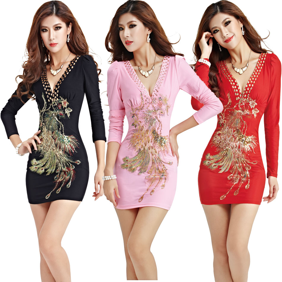Women's sexy nightclub Slim package hip tight low-cut long-sleeved dress was thin beaded sequined miniskirt image
