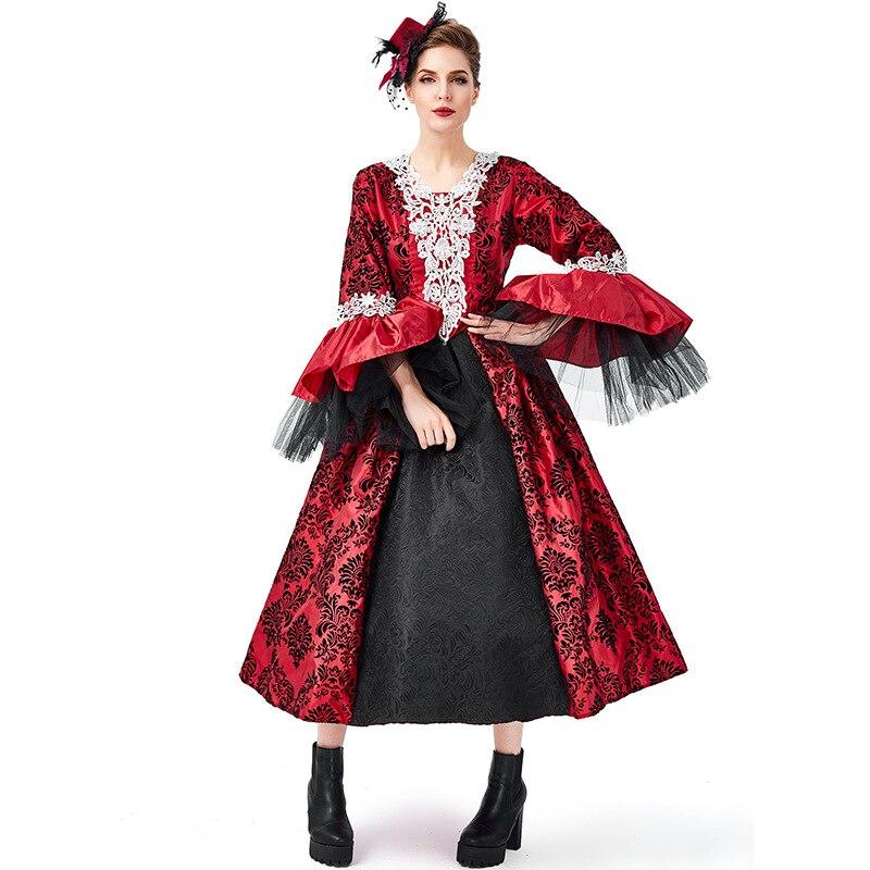 Renaissance Medieval Gothic Vampire Kostüme Cosplay Halloween Ball Modell Landebahn Kostüm Palace Kleid Hut Petticoat Vollen Satz - 2