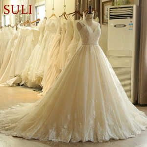 Image 2 - SL 023 urocze Sweetheart aplikacja z koronki Vintage perły koraliki pas suknia ślubna suknia ślubna vestido de novia princesa