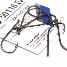 купить 10PCS/Lot Fishing Hook 14#-1/0# Fish Hook Baitholder Black Color 50116 Jig Big Hook 92247 Sliced Shank owner Steel Hooks дешево