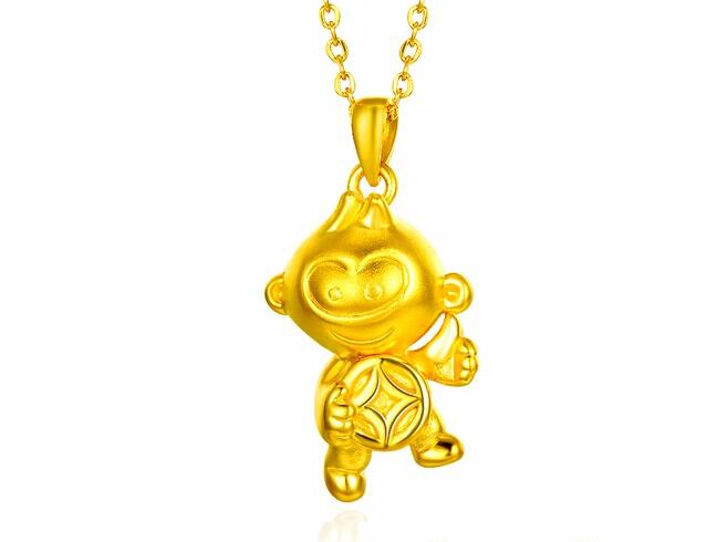 New Pure 24k Yellow Gold Pendant 3D Coin Monkey Pendant 2 72g
