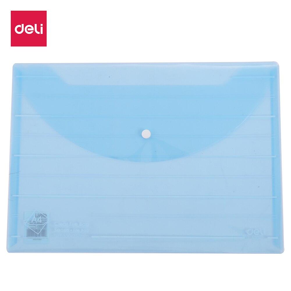 Deli File Bag Snap 4 PCS A4 0.18mm PP Material Assorted Translucent Blue Transparent E5502