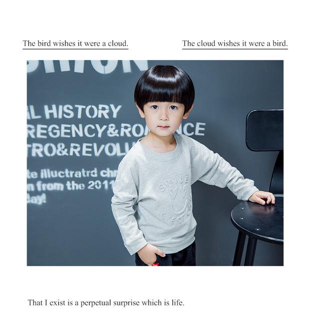 2016 pequeños niños desgaste del otoño nueva Corea en relieve de manga larga suéter de punto para niños sonrisa sudaderas niños para 2-8 T
