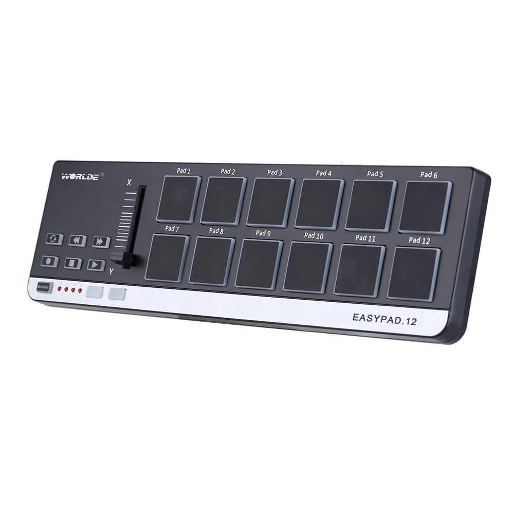 Worlde EasyPad.12 Drum Pad Controller MIDI Portatile Mini Tastiera MIDI Controller con Cavo USB