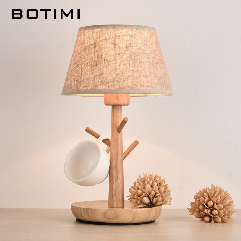 BOTIMI Nordic Wood Table lamp with E27 Dimmer Switch Fabric Lampshade lamparas de mesa Desk Light Deco Luminaria For Living Room trazos modern table lamp with fabric lampshade led lamparas de mesa metal desk light e27 hotel lighting deco luminaria de mesa