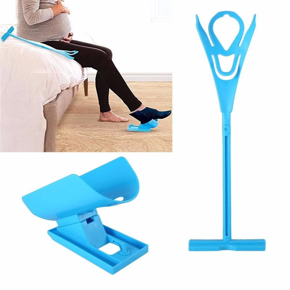 Sock Slider Aid Helper Easy Put Socks On Off No Bending Stretching for Pregnancy and Injuries Living Tool Blue sock slider aid blue helper kit help