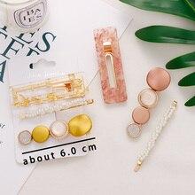 Fashion Pearls Acetate Geometric Hair Clips