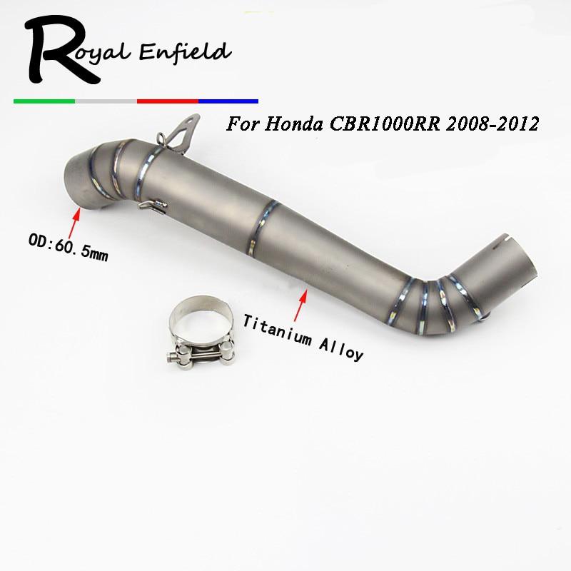61mm liga de titânio tubo de escape da motocicleta em contato conector do tubo Do Meio para HONDA CBR1000RR CBR1000 2008-2016 Slip-On