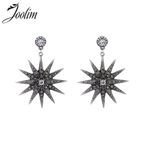 Joolim Jewelry Wholesale/Black Zirconia Starburst Piercing Earring European