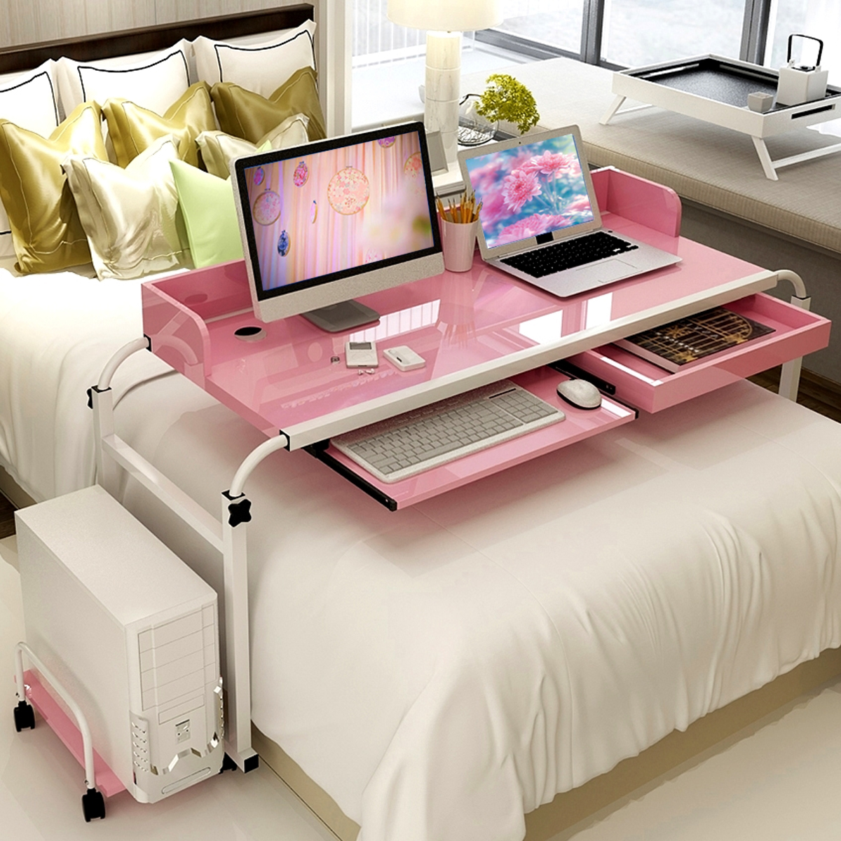 1 2m Home Rolling Adjule Computer Desk Table Over Bed Laptop Storage Furniture Pc Stand Holder For In Lapdesks From Office On