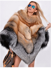 Runway style brand design women cloak coat luxury natural real fox fur coats ,luxury elegant ladies fox fur overcoat