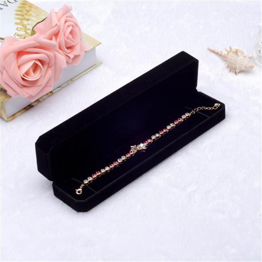 Black Jewelry Boxes Elegant Trendy Velvet Gift Jewelry ...