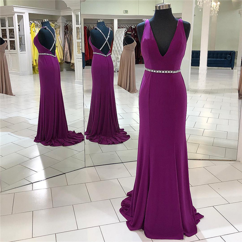 Sexy V-neck Grape   Prom     Dresses   For Women 2019 Elegant Satin A Line Cross Back Long Formal Evening   Dress   Party Gowns Plus Size