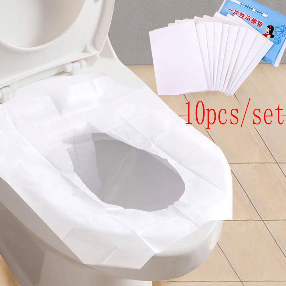 10pcs Toilet Seat Covers Paper Cotton Pulp Bathroom Products Sanitary Disposable