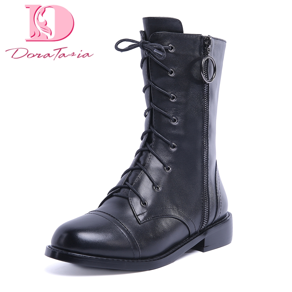 DoraTasia 2018 Genuine Leather best quality Cow Leather Zip Up Boots Woman Shoes Women Mid Calf Boots martin boots woman doratasia 2018 genuine leather zip up cow leather shoes woman martin boots chunky heels wholesale mid calf boots woman shoes