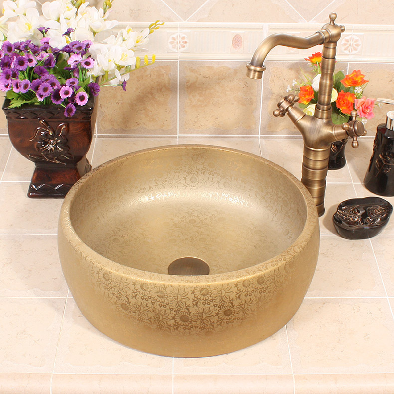 Luxurious Golden Glazed Art porcelain Counter top Bathroom Sink Lavabo Washbasin hand painted vessel sinks. Popular Painted Vessel Sinks Buy Cheap Painted Vessel Sinks lots