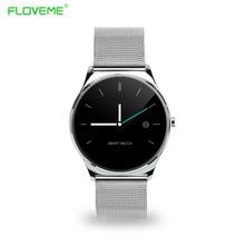 FLOVEME Runde Bluetooth Smart Uhren Uhr Klassische Gesundheit Metall Smartwatch mit Pulsmesser für Android ISO iPhone Telefon