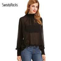 DIDK Womens Clothing Tops Autumn Fashion Elegant Black High Neck Long Sleeve Sheer Dotted Blouse With