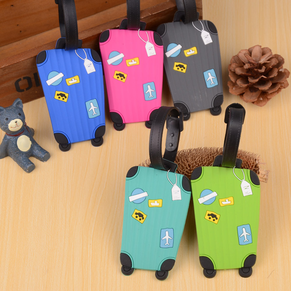 New Popular Cute 5 Colors Travel Suitcase Luggage Tags ID Address Holder Silicone Identifier Label Decoration Accessories