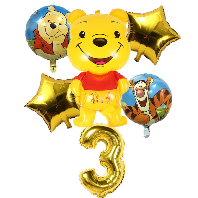 Diy Make Up Winnie The Pooh And Honey Tree Foil Balloon Happy Birthday Decorations Air Balloons Childrens Day Decoration