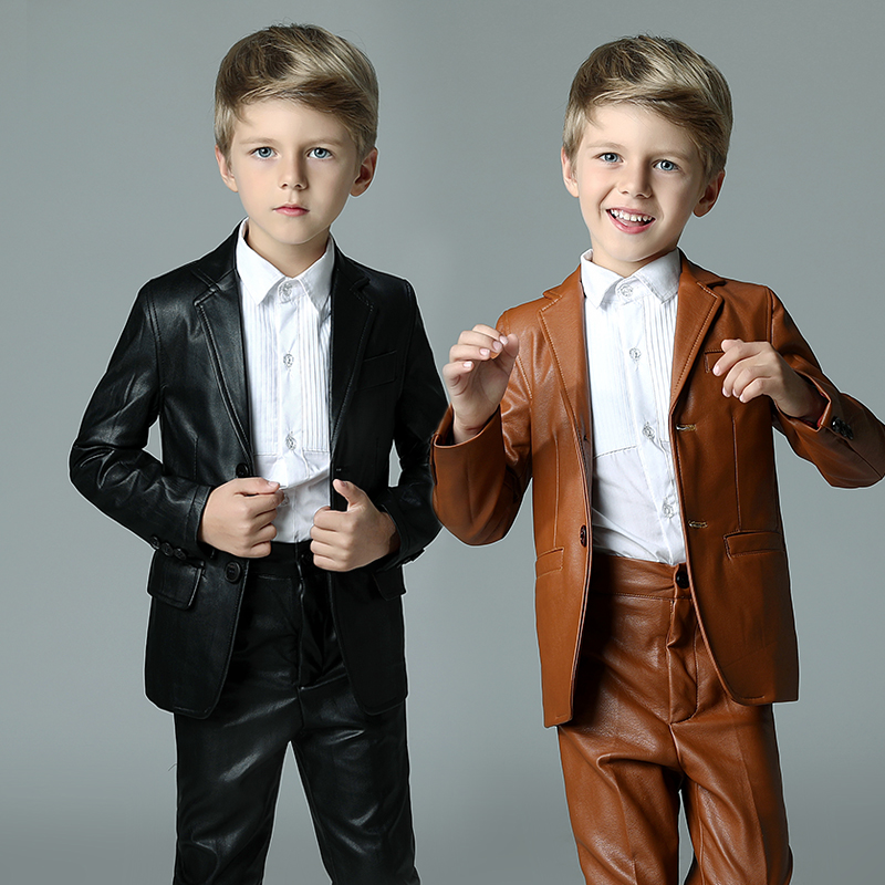 2018 Winter Casual Boys Blazer For Weddings Solid Pu Leather Boys
