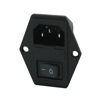 Black IEC320 C14 Inlet Module Plug Switch Male Power Socket w 2-Pin Switch