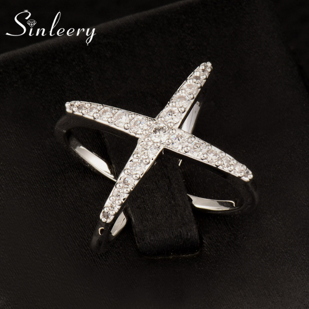 SINLEERY Trendy Silver/Gold Color X Shape Cross Finger Rings with Cubic Zirconia Women Party Jewelry Gifts JZ006 SSB