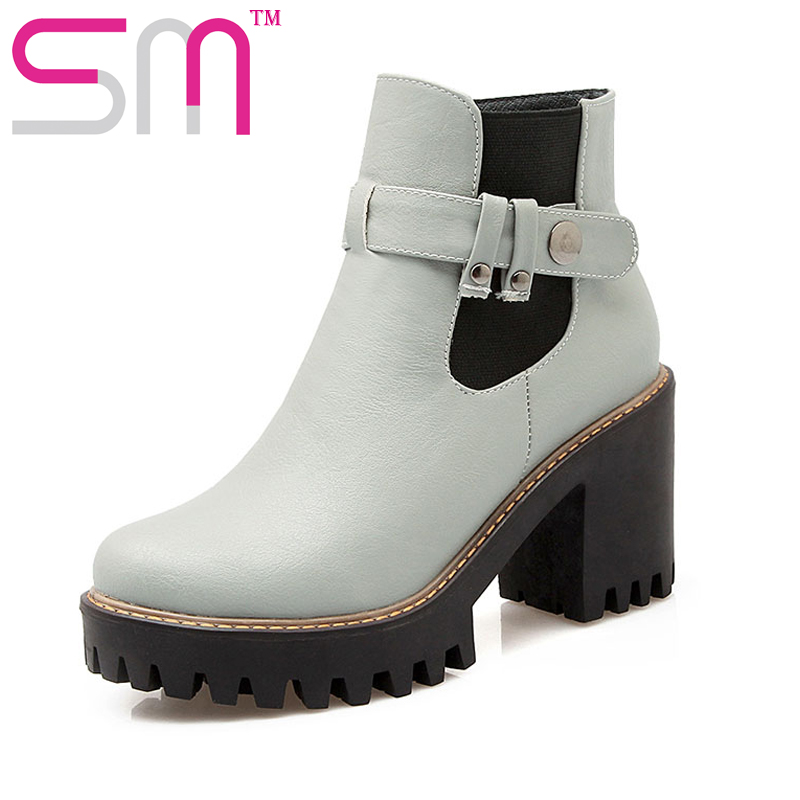 SM Boyutu 34-43 2016 Moda Toka Charm Kare Yüksek Topuklu ayak bileği Çizmeler Kürk Rahat Popüler Platformu Güz Kış Ayakkabı Eklemek kadın