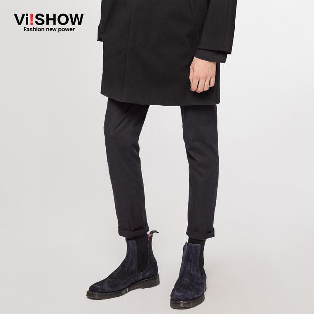 VIISHOW Calças Dos Homens Da Marca Calças Dos Homens de Negócios Casuais mens calças de moletom De Algodão Calças Dos Homens Calças Compridas Preto KC43163