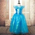 O Envio gratuito de Varejo 1 pc 2015 Nova Meninas Cinderella Princess Dress Filme Cosplay Fantasia de Fada Fantasia Arcos Vestidos de Festa C1504