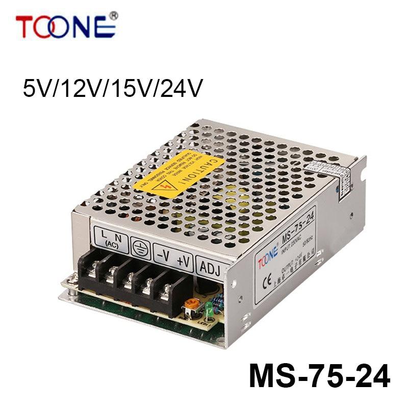 MS-75-24 75W Mean well LED Power Supply24V 3.125A Transformer 110V 220V AC-DC output qbcv e20810 e20798 75
