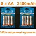 8 pcs 100% original genuine 2400 mah enelong nimh aa baterias recarregáveis, brinquedos de alta qualidade, câmeras, lanternas e bateria