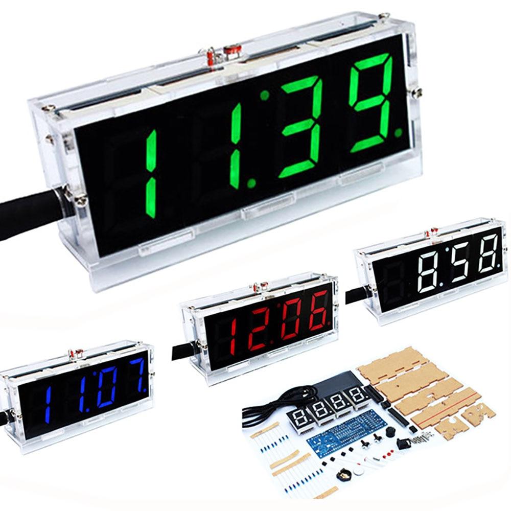 Diy Digitale Uhr Stimme Zeitmessung Uhr Kits, LED DIY SCM Ausbildung Diy Elektronische Uhr/Uhr 4 farben (Keine batterie)