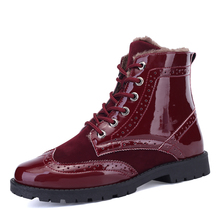new Hip Hop DR Martin Winter Boots Bota Masculina  Ankle motorcycle oxfords Men Warm fur wing tip brogue Snow boots Men's Winter