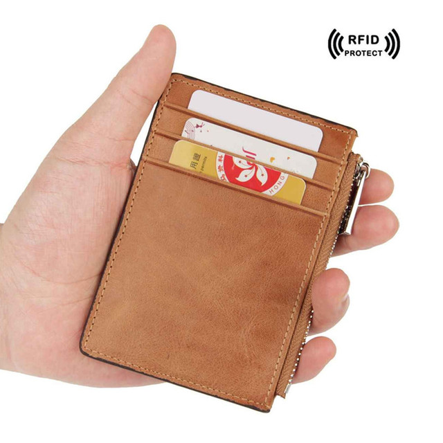 a94cec5042ae Rfid Blocking Credit Card Holder Wallet with Zipper Coin Purse Genuine  Leather id Card Protector Safe Wallet Fashion Card Case