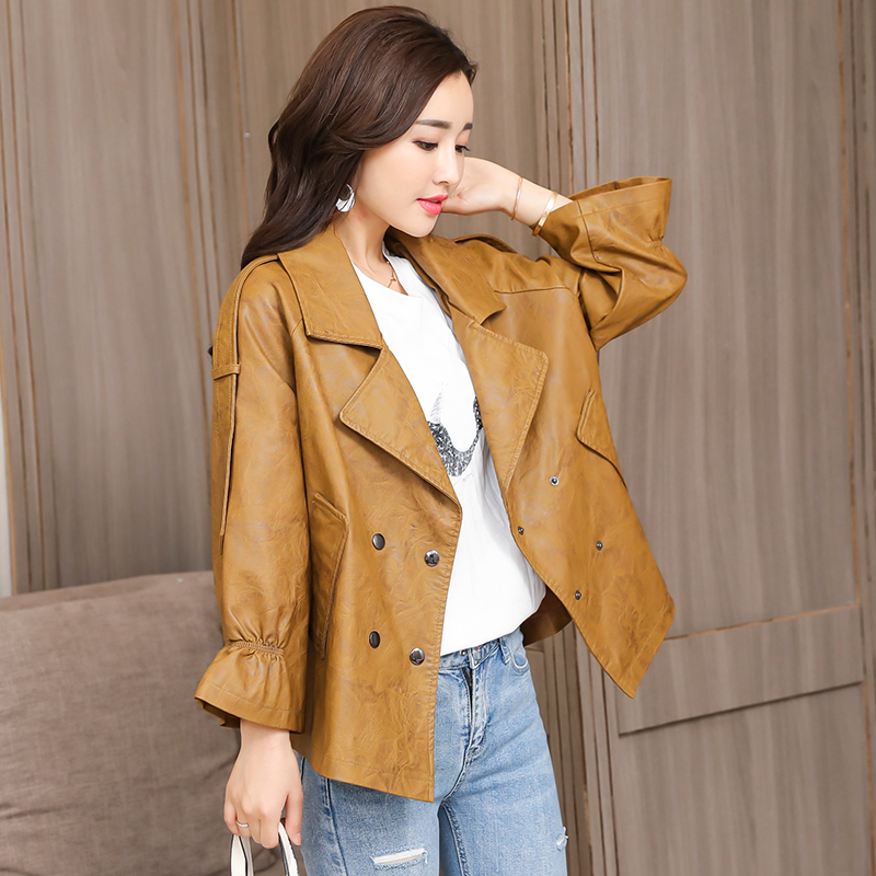 2018 New Design Autumn Winter PU Leather Jacket Women Faux Soft Leather Coat Black Khaki Plus Size S-XXL Motorcycle Jackets 3