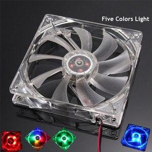 Five Colors Light PC Computer Fan Quad 4 LED Light 120mm PC Computer Case Cooling Fan Mod Quiet Molex Connector CPU Cooler Fan(China)