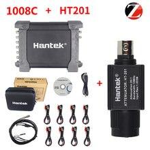 Hantek osciloscópio probe, com atenuador passivo ht201 1008c automotivo armazenamento de pc usb 8 canais gerador programável