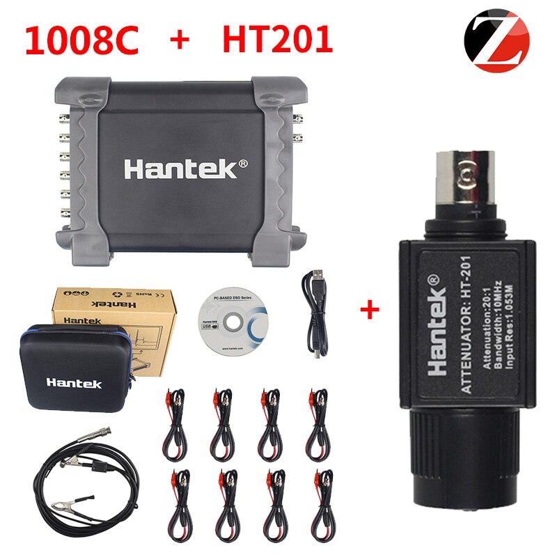 Hantek osciloscópio probbe com atenuador passivo ht201 1008c automotivo usb 8 canais de armazenamento usb gerador programável