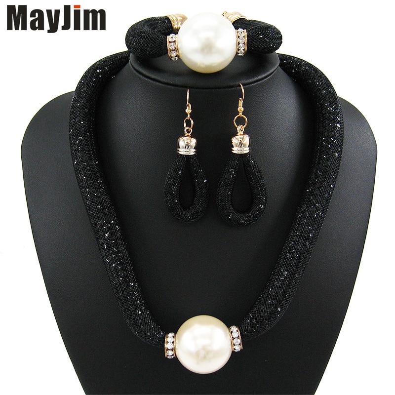 MayJim Fashion Women 2018 perlové šperky soupravy Vintage velká - Bižuterie - Fotografie 3