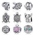 Authentic 925 Sterling Sliver Bead Turtle With Full Crystal Beads Fit pandora charms 925 original Bracelets & Bangles YW20131