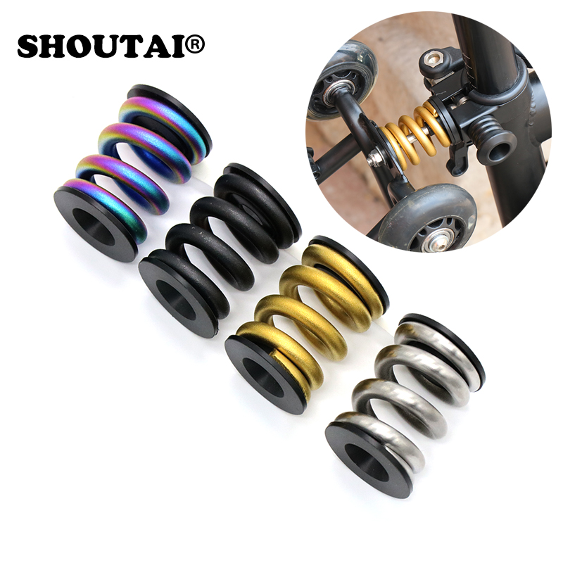 SHOUTAI  Bike TC4 Titanium Alloy Spring Rear Shock Absorber For Brompton BMX Amortizer Bicycle Parts 4 Colors