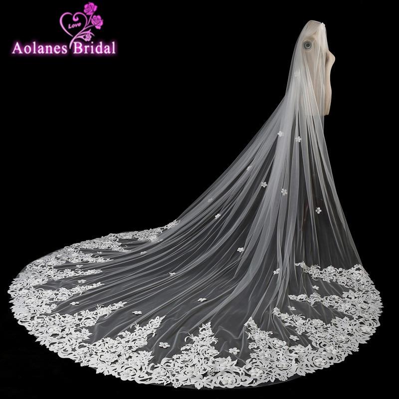 New Nature White Wedding Veil 3x3.5M Long Appliques Mantilla Cathedral Bridal Veil Wedding Accessories Veu De Noiva Real Photos
