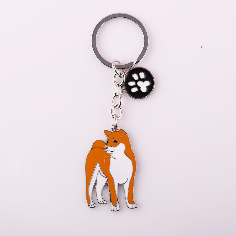 Japanese Akita pendant key chains for men women girls silver color metal alloy dog charm male female car bag keychain key ring