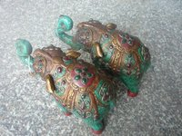 Lovely Old turquoise & jade with silver Statue/ Sculpture pair of elephant,large size, best collection&adornment