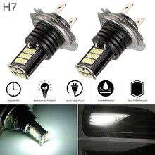 2Pcs 24W Car H7 Waterproof 3030SMD Fog Lamp Daytime Running Light 6000K 2400LM LED Automotive Turning Parking Bulb for Cars