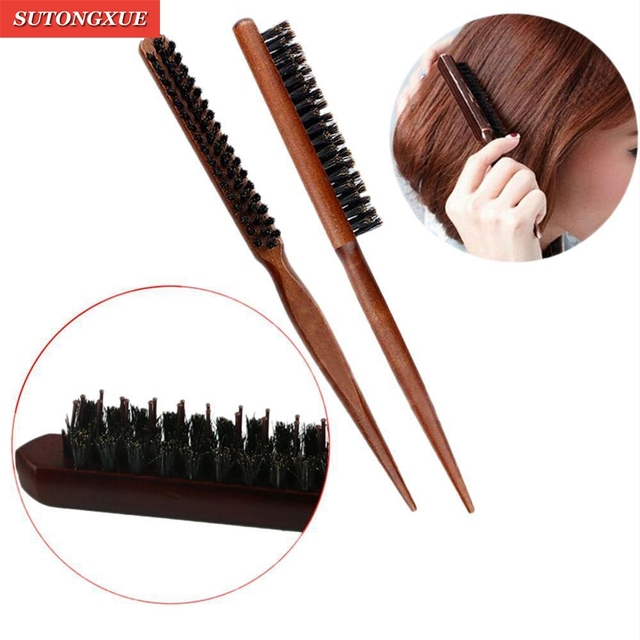 1 PC Pro Salón Profesional de pelo cepillos madera delgada línea peine cepillo de pelo de extensión de peluquería herramientas Kit de bricolaje